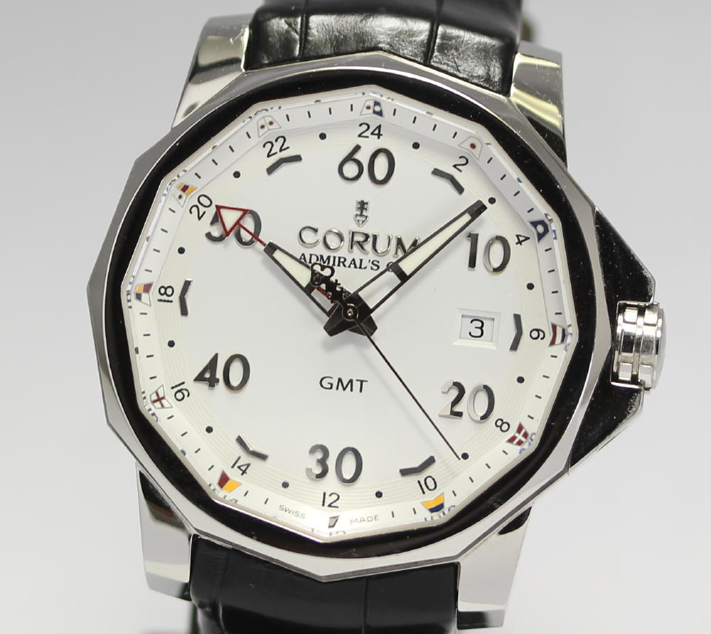 Steel Case Corum Admiral's Cup Challenger 44 GMT White Dial Replica Watch